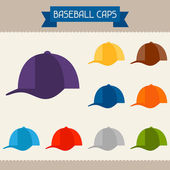 Baseball caps colored templates for your design in flat style. — Stock Vector