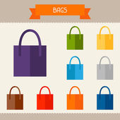 Bags colored templates for your design in flat style. — Stock Vector