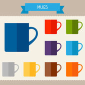 Mugs colored templates for your design in flat style. — Stock vektor