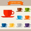 Coffee cups colored templates for your design in flat style. — Stock Vector #44642507