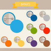 Badges colored templates for your design in flat style. — Stock Vector