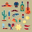 Collection of mexican stickers in native style. — Stock Vector