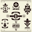 Mexican set of labels and stickers with icons. — Stock Vector