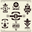 Mexican set of labels and stickers with icons. — Stock Vector #44987369