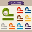 Sticky tapes colored templates for your design in flat style. — Stock Vector #45008079