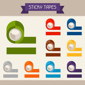 Sticky tapes colored templates for your design in flat style. — Stock Vector
