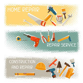 Repair and construction horizontal banners with tools icons. — Stock Vector