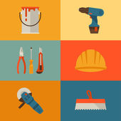 Repair and construction illustration with working tools icons. — Stock Vector