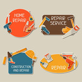 Repair and construction stickers set with working tools. — Stock Vector