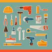 Repair and construction working tools sticker icon set. — Stock Vector
