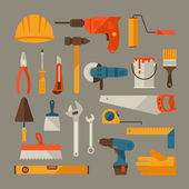 Repair and construction working tools icon set. — Stock Vector