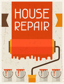 House repair. Retro poster in flat design style. — Stock Vector