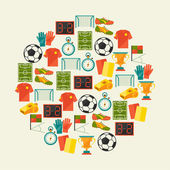 Sports background with soccer (football) flat icons. — Stock Vector