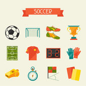 Soccer (football) icon set in flat design style. — Stock Vector