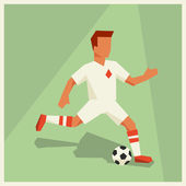 Illustration of soccer player in flat design style. — Stock Vector