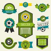 Sportovní pásky, etikety a štítky s ikonami fotbal (fotbal. — Stock vektor