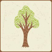 Abstract background with stylized tree in retro style. — Stok Vektör