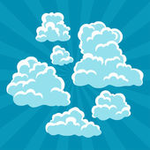 Set of cartoon clouds on sky and rays. — Stock Vector