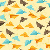Seamless pattern of paper planes in flat design style. — Stock Vector