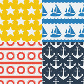 Nautical seamless patterns set in flat design style. — Stock Vector