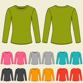 Set of templates colored sweatshirts for women. — Stockvector
