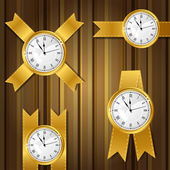 Set of vector gold watches and ribbon. — Vettoriale Stock