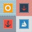 Set of cards with nautical symbols in flat design style. — Stock Vector