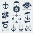 Collection of nautical symbols, icons, badges and elements. — Stock Vector #47244933
