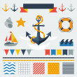 Collection of nautical symbols, icons and elements. — Stock Vector #47244935