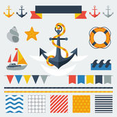 Collection of nautical symbols, icons and elements. — Stock Vector