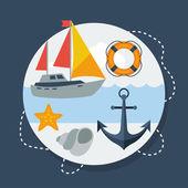 Scheda con simboli marini in stile design piatto. — Vettoriale Stock