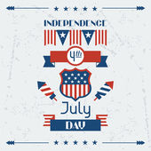 United States of America Independence Day greeting card. — ストックベクタ