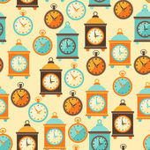 Seamless retro pattern with watches in flat style. — Stock Vector