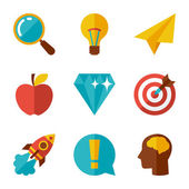 Idea concept icons in flat design style. — Stock Vector