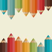 фон с цветными карандашами в стиле ретро. — Cтоковый вектор