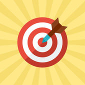 Darts target concept illustration in flat style. — Stock Vector