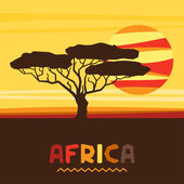 African ethnic background with illustration of savanna. — Vecteur
