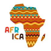 African ethnic background with illustration of ornate map. — Vector de stock