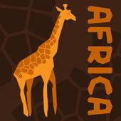 アフリカの民族的背景のキリンのイラスト. — ストックベクタ
