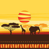 African ethnic background with illustration of savanna. — Vettoriale Stock