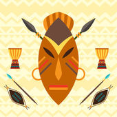 African ethnic background with illustration of mask. — Stock Vector