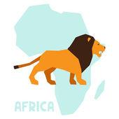 ライオン背景アフリカ マップ上のシンプルなイラスト. — ストックベクタ