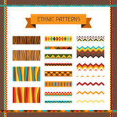 African ethnic seamless ornaments and pattern brushes. — Stock Vector