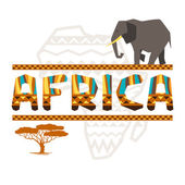African ethnic background with geometric ornament and symbols. — Vecteur