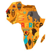 African ethnic background with illustration of map. — Stock Vector
