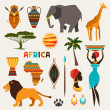 Set of african ethnic style icons in flat style. — Stock Vector #48541685