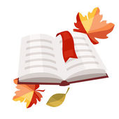 Open book with bookmark and autumn leaves. — Stockvektor