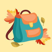 Book bag, backpack, school bag with autumn leaves. — Stock Vector