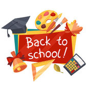 Back to school background with education icons. — Stock Vector