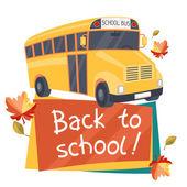 A fondo de la escuela con la ilustración de autobús amarillo. — Vector de stock